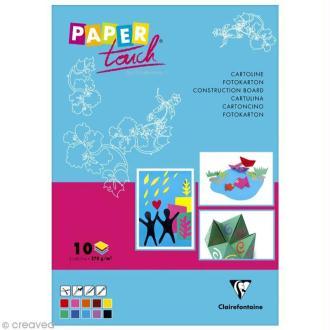 Papier cartoline pour activités manuelles - 10 feuilles multicolores A4 - 270 gr