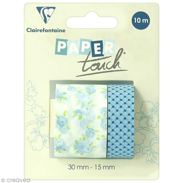 Masking tape Clairefontaine - Fleurs bleues - 2 rouleaux assortis - Photo n°1