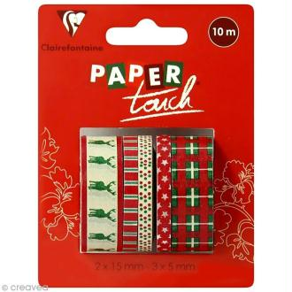 Masking tape Clairefontaine - Noël - 5 rouleaux assortis