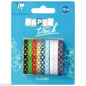 Masking tape Clairefontaine - Etoiles 1 - 9 rouleaux assortis