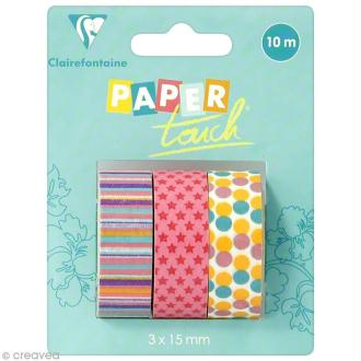 Masking tape Clairefontaine - Anniversaire 1 - 3 rouleaux assortis