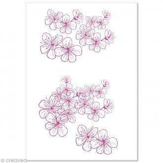 Papier Pollen imprimé A4 Evènement - Fleurs framboise - 10 feuilles