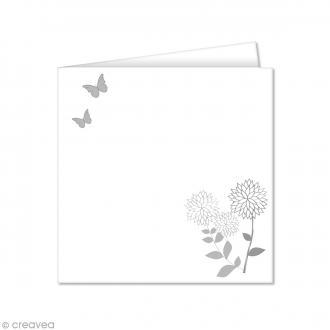 Carte double Pollen imprimée 160 x 160 mm - Fleurs et papillons - 10 pcs