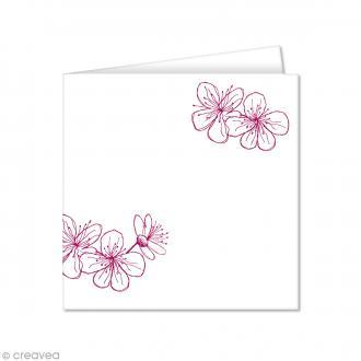 Carte double Pollen imprimée 160 x 160 mm - Fleurs framboise - 10 pcs