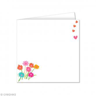 Carte double Pollen imprimée 160 x 160 mm - Fleurs Liberty - 10 pcs
