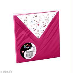 Enveloppe Pollen 140 x 140 mm - Rose framboise doublure Fleurs - 10 pcs