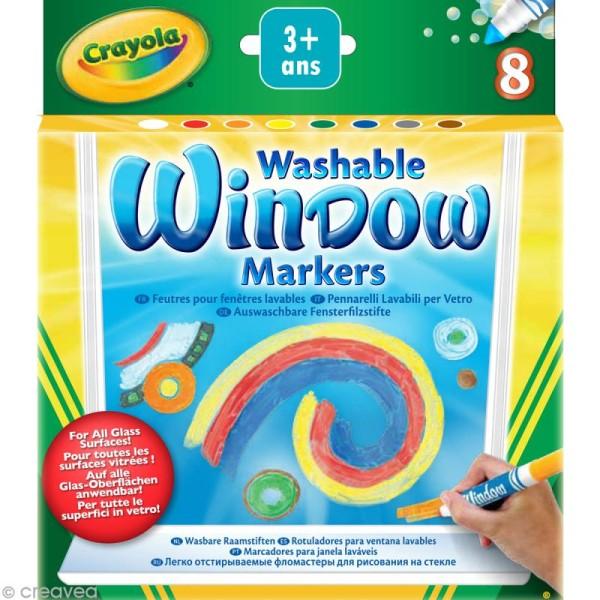 Feutres pour fenêtre lavables - Crayola x 8 - Photo n°1