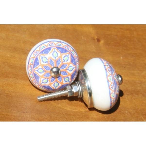 Bouton de porte ou tiroir orange et bleu de 4 cm de diamètre. - Photo n°2