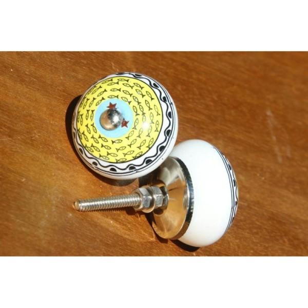 Bouton de porte ou tiroir dessin poisson de 4 cm de diamètre. - Photo n°2