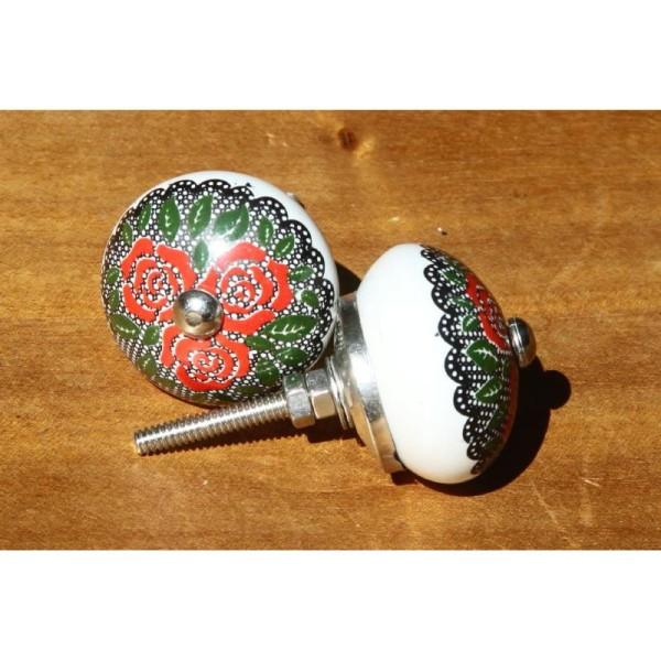 Bouton de porte ou tiroir rouge et vert de 4 cm de diamètre. - Photo n°2