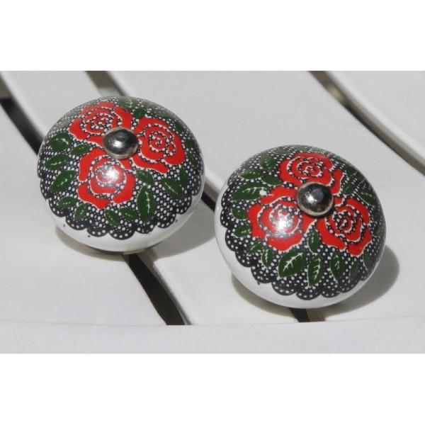 Bouton de porte ou tiroir rouge et vert de 4 cm de diamètre. - Photo n°1