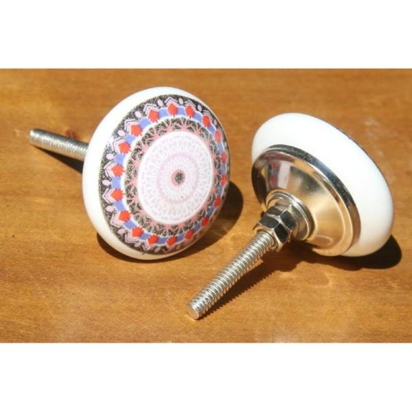 Bouton plat de porte ou tiroir, multicolore,  de 40 mm de diamètre. - Photo n°2