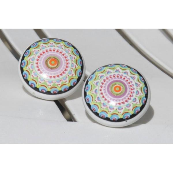 Bouton plat de porte ou tiroir, multicolore,  de 40 mm de diamètre. - Photo n°1