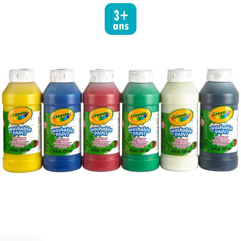 Peinture lavable crayola x 6 gouache bidon creavea for Peinture cuisine lavable