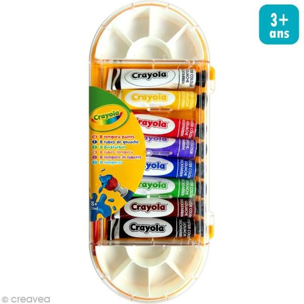 Boîte de 8 tubes de gouache lavable 12 ml Crayola - Photo n°1