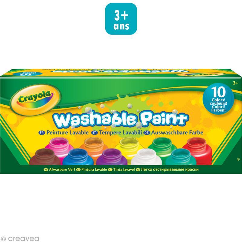 Peinture lavable crayola x 10 kit de gouache creavea for Peinture cuisine lavable