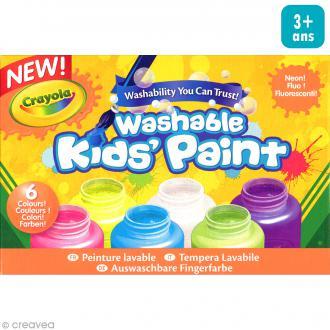 Peinture lavable fluo Crayola - 6 petits pots