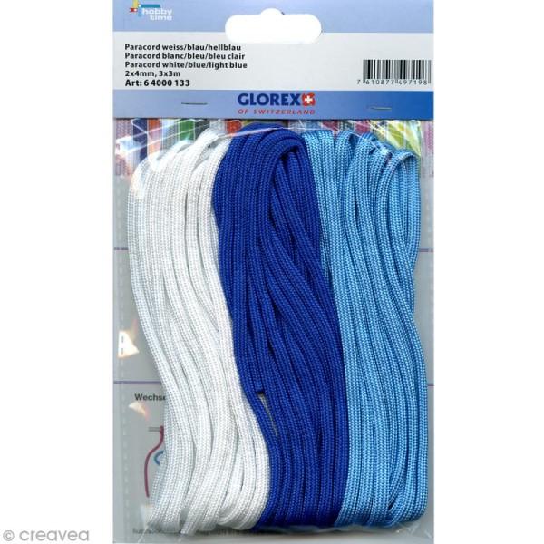 Assortiment Paracord - Blanc, bleu foncé, bleu clair - 3 x 3 mètres - Photo n°1