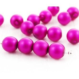 40pcs Fuchsia Rose Perle d'Imitation Mat Ronde Druk Entretoise de Semences de Verre tchèque Perles d