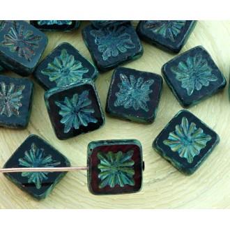 6pcs Picasso Brun Cristal Rouge Rubis Fenêtre de la Table de Découpe à Plat de Fleur Carré en Verre