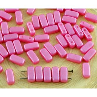 40pcs Nacré Briller la Lumière Valentine Rose de Briques de Verre tchèque Perles 2 Trous de 4 mm x 8
