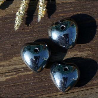 Metallic Dark Silver Verre Coeur de Perle de Cœur en Argent Perles de Valentine Perles en Argent de
