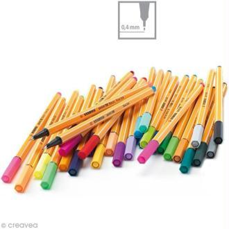 Stylo feutre Stabilo point 88 à l'unité - Pointe fine - 35 couleurs