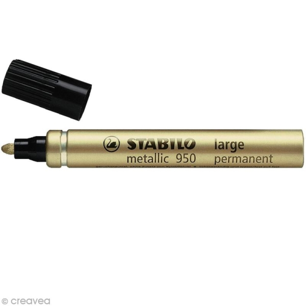 Feutre metallic Stabilo - 2 mm - Or - Photo n°1