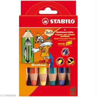 Crayon de couleur Stabilo Woody - Pochette de 6 crayons