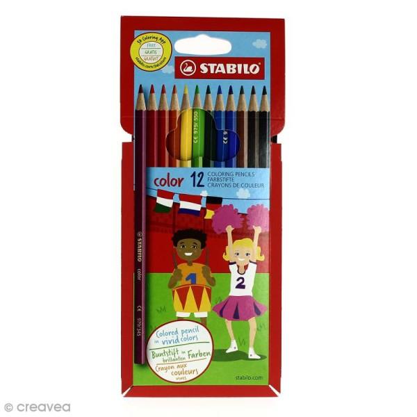 Crayon de couleur Stabilo Color - Pochette de 12 crayons - Photo n°1