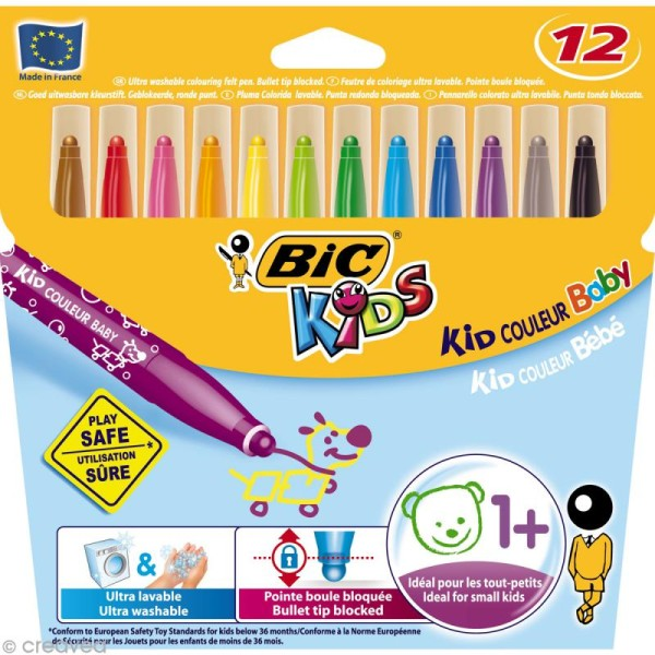 Feutres Bic Kids - Kid Couleur Bébé - 12 feutres à pointe boule - Photo n°1
