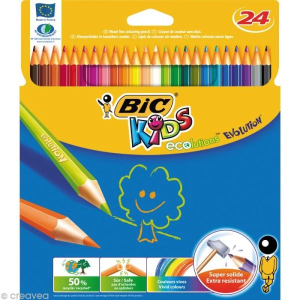 Crayons de couleur Bic Kids Evolution - 24 crayons écologiques - Photo n°1