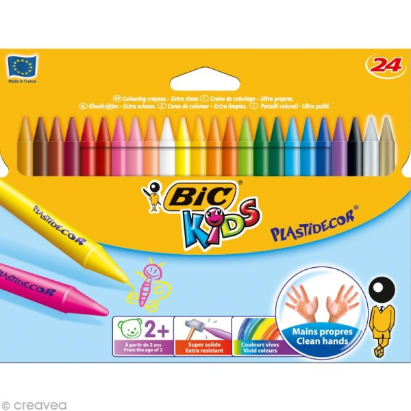 Craies de coloriage Bic Kids Plastidecor - 24 craies - Photo n°1