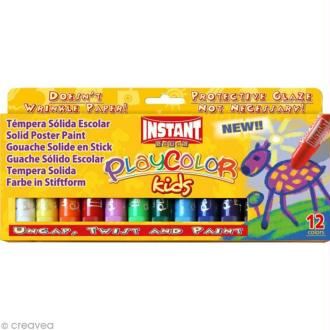Gouache solide Playcolor en stick - 12 tubes de 10 g