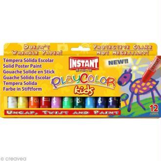 Gouache solide Playcolor en stick - 12 tubes de 10 g