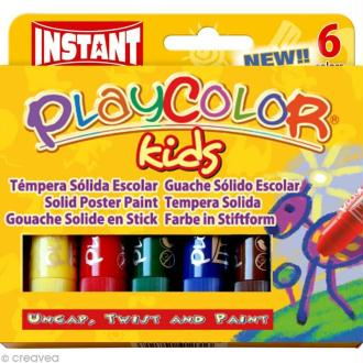 Gouache solide Playcolor en stick - 6 tubes de 10 g.