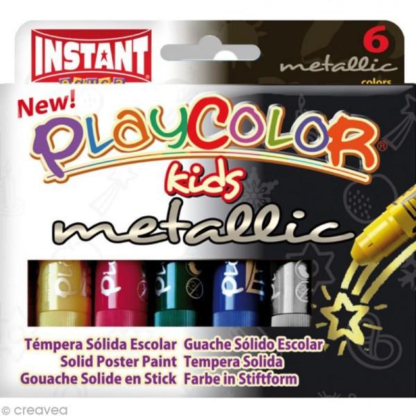 Gouache solide Playcolor en stick - Couleurs métalliques - 6 tubes de 10 g. - Photo n°1
