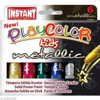 Gouache solide Playcolor en stick - Couleurs métalliques - 6 tubes de 10 g.
