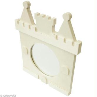 Miroir château en bois à décorer - 12 x 14 x 1,3 cm