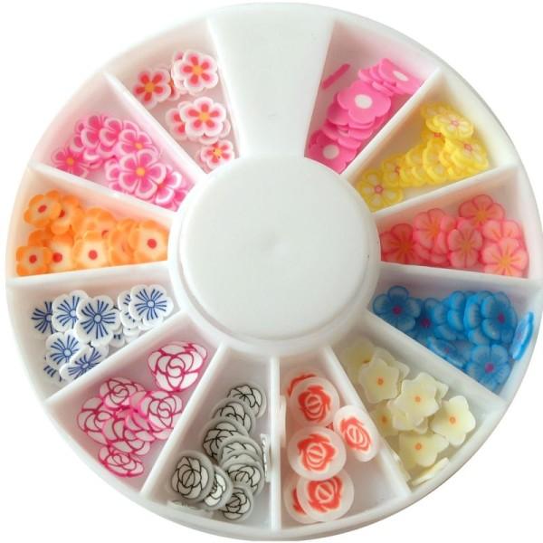 Tranches mini canes Fimo - Fleurs pastel - 12 modèles (120 pcs) - Photo n°1