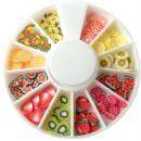 Tranches mini canes Fimo - Fruits - 12 modèles (120 pcs) - Photo n°1