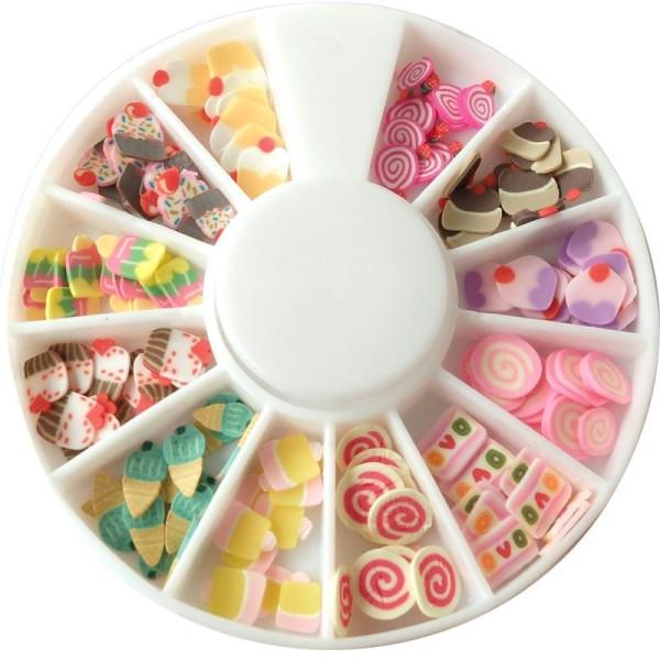 Tranches mini canes Fimo - Bonbons et Pâtisseries - 12 modèles (120 pcs) - Photo n°1