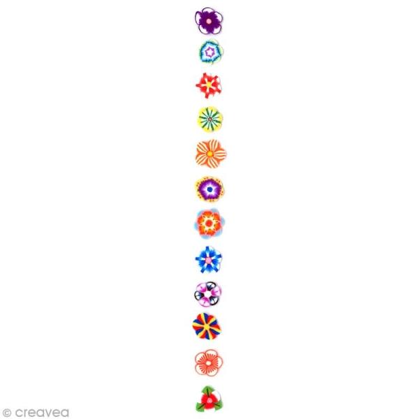 Tranches mini canes Fimo - Fleurs vives - 12 modèles (120 pcs) - Photo n°2