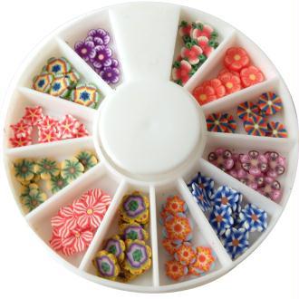 Tranches mini canes Fimo - Fleurs vives - 12 modèles (120 pcs)