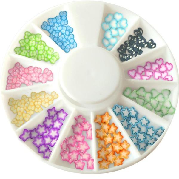 Tranches mini canes Fimo - Coeurs, étoiles et noeuds - 12 modèles (120 pcs) - Photo n°1
