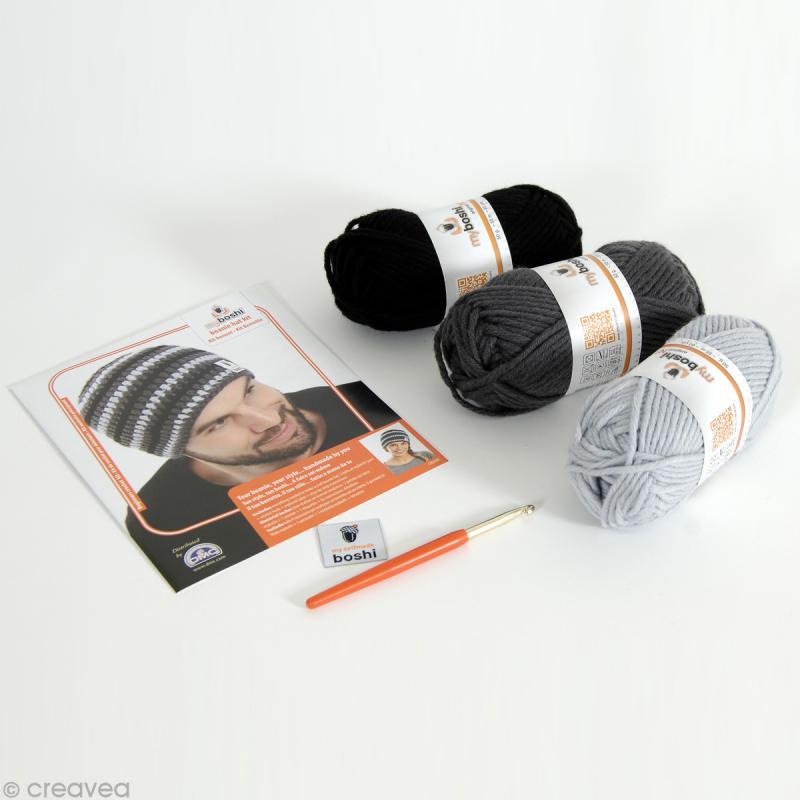 Kit crochet MyBoshi - Gris et noir - 1 bonnet - Photo n°2