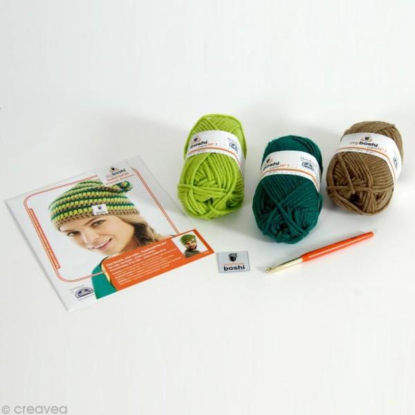 Kit crochet MyBoshi - Vert et marron - 1 bonnet - Photo n°2