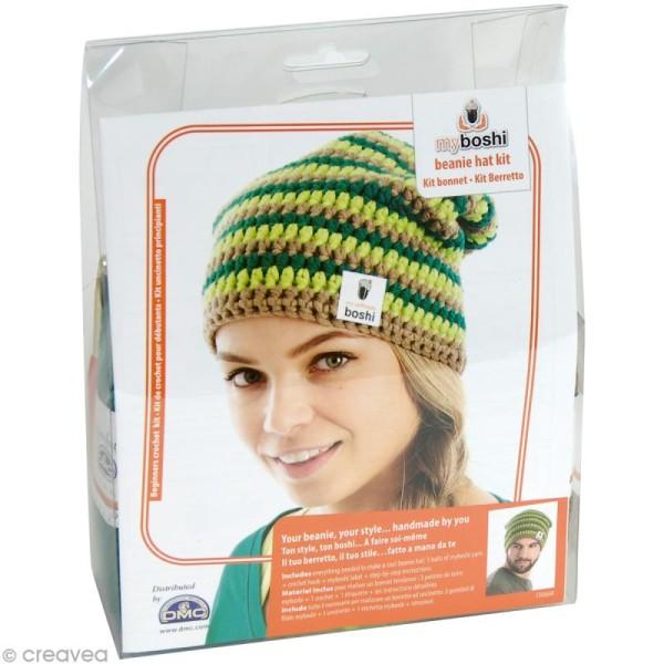 Kit crochet MyBoshi - Vert et marron - 1 bonnet - Photo n°1