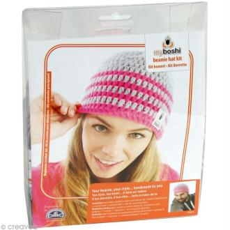 Kit crochet MyBoshi - Rose et gris - 1 bonnet