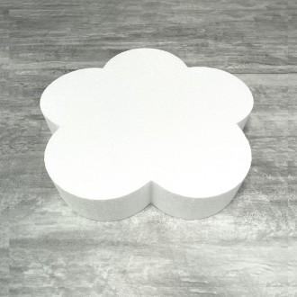 Grand Socle plat Fleur 2D en polystyrène blanc, Diamètre 35cm x Epais. 7cm, Support pour centre de t